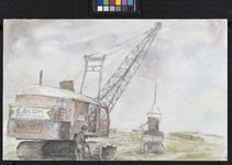 VII-168-00-00-113 Gezicht op het Calandkanaal met op de voorgrond een graafmachine aan het werk langs het kanaal door ...