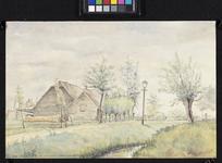XXV-192-01 Gezicht op de Dorpsweg met de achterzijde van een boerderij bij de Korperweg nummer 162, uit het oosten.