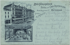 PBK-10534 Het exterieur en het interieur van het Zuid-Hollandsche hotel en café-restaurant aan de Korte Hoogstraat nummer 27.