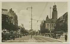 PBK-10619 Coolsingel met het stadhuis en het postkantoor, ter hoogte van de Meent rechts en de Aert Van Nesstraat links.
