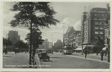PBK-10753 Coolsingel met rechts hotel Atlanta op de hoek van de Aert van Nesstraat. Op de achtergornd het warenhuis De ...