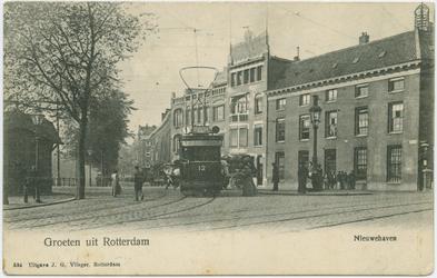 PBK-10887 De Marinierskazerne aan het Oostplein hoek Nieuwehaven en links het pand van de Koninklijke Boek- en ...