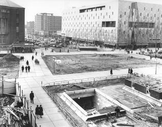 1967-943-EN-1967-945 Overzicht aanleg van de metro onder de Coolsingel.Van boven naar beneden afgebeeld:- 943- 945