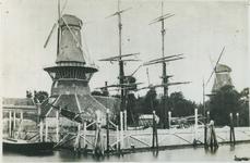 1976-1616 Molen De Reus en oliemolen De Naarstigheid aan de noordzijde van het Boerengat. Achter de palenrij een ...