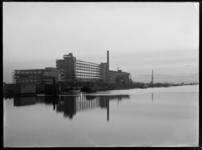 1978-3316 Fabriek- en kantoorgebouwen van Van Nelle. Op de voorgrond de Delfshavense Schie.