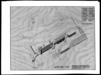 1978-3708 Een technische tekening van een overzicht in vogelvlucht van de gebouwen van de fabrieken en het ...