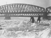 1986-2542-1,-2 De Nieuwe Maas bedekt met ijsschotsen, bij de spoorbrug en de Willemsbrug.Van boven naar beneden ...