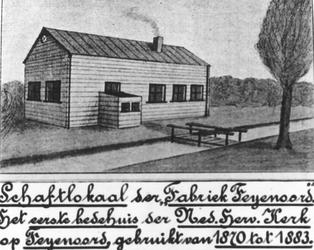 1989-2197 Op de Feijenoorddijk met het schaftlokaal van de fabriek Feijenoord, het eerste bedehuis van de Nederlandse ...
