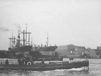 1991-876 Gezicht op de Nieuwe Maas bij de droogdokken van scheepswerf Wilton.Het bootje op de voorgrond is de ...