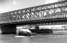 1993-5317 Gezicht op de Nieuwe Maas onder de Willemsbrug en de spoorbrug door, met op de achtergrond de achterzijde van ...