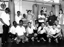 1995-1524 Staatsecretaris mevr. E.G. Terpstra van Volksgezondheid, Welzijn en Sport is in boksschool Schildkamp ...