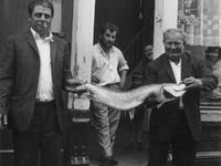 1997-1874 In Katendrecht. De man geheel links genaamd Blauwe Bep en zijn vriend hebben een snoek van 16 pond gevangen.