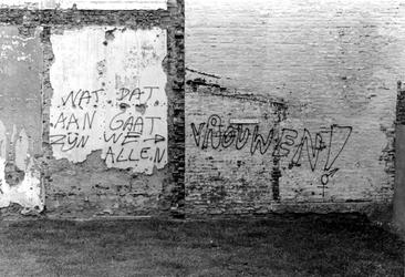 2005-10110-EN-10111 Graffiti:Van boven naar beneden:-10.110: Muuropschriften aan pand bij de Zwarte ...