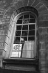 2005-11041 Achter een venster van het stadhuis is een protestaffiche van de bewonersvereniging Agniesebuurt en ...