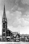 2005-6580 De Goudse Rijweg met de Redemptoristenkerk, RK Kerk van de Allerheiligste Verlosser. Anno 1882.