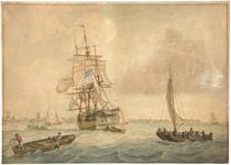 2007-52 Prominent op de Maas een driemast schip dat een blauw-wit gestreepte vlag voert, waarschijnlijk van het ...
