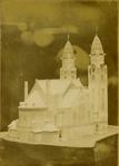 2008-3597 Maquettes en foto van bouwtekening. 3 opnamen. Van boven naar beneden:-1: maquette Koninginnekerk-2: maquette ...