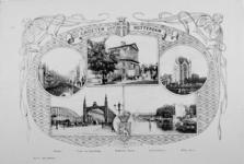 IV-64-1 Groeten uit Rotterdam.Diverse stadsgezichten: Steiger, Voet- en Spoorbrug, Delftse Poort, Leuvehaven en het ...