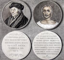 M-613 Gedenkpenningen in medaillon van Desiderius Erasmus, humanist. Rechts: het dodenmasker, links/rechtsonder: ...