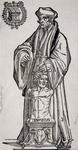 M-651 Desiderius Erasmus, humanist met het beeld van de god Terminus.