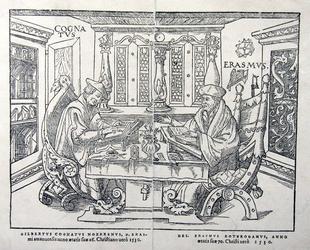 M-674 Desiderius Erasmus, humanist en Gilbertus Cognatus Nozerenus, anno 1530.