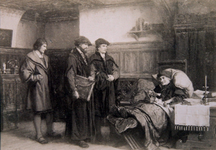 M-678 Desiderius Erasmus, humanist in zijn laatste dagen met Bonifacius Amerbach, Jeronimus Trobenius en Nicolaas Episcopius.