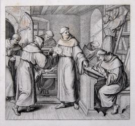 M-678-NB-B Desiderius Erasmus, humanist met andere monikken in de kloosterbibliotheek.
