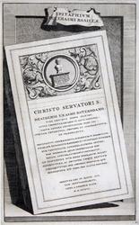 M-706-A Gedenksteen met grafschrift van Desiderius Erasmus in de kerk te Bazel.