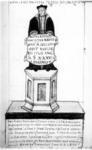 P-020698 Desiderius Erasmus, humanist en filoloog. Tekening van de Duise reiziger Jacob à Staal van het beeld van ...