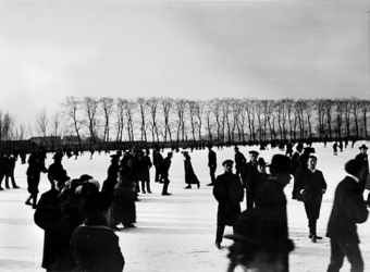 VIII-43-00-01 Gezicht op de Kralingse Plas, met ijsvermaak nabij de Kralingse Plaslaan, uit het noorden.