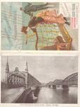X-19 Reclamekaart van de Netherlands-American Steam Navigation Company met op de voorzijde een vrouw en man op het ...