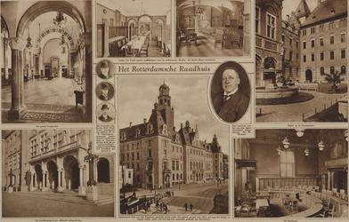 XII-54 Het stadhuis aan de Coolsingel.Met de klok mee afgebeeld:- 1: De Grote Burgerzaal.- 2: De koffiekamer.- 3: De ...