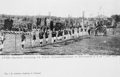 XXXIII-225-9 Gezicht op het exercitieveld Crooswijk, tijdens de 18e uitvoering van het Nederlandsch Gymnastiek Verbond ...