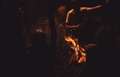 2006-47-015 Diareportage van het Holland Popfestival in het Kralingse Bos (15): jongeren bij een kampvuur.