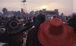 2006-47-018 Diareportage van het Holland Popfestival in het Kralingse Bos (18): het festivalterrein; op de achtergrond ...