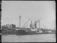 1976-4528 De Rijnhaven aan de noordzijde, waarlangs het zeeschip de Pommern aan de kade ligt aangemeerd.