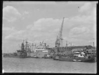 1976-5311 Het schip Algenib van Van Nievelt Goudriaan ligt aan de kade van de Lekhaven, bij Thomsen's Havenbedrijf, ...