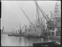 1976-5688 Schepen in de Merwehaven. Het laden en lossen van goederen met kranen in de haven.