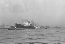 1976-7020 De Nieuwe Maas, ter hoogte van de Merwehaven met links scheepswerf Gusto.