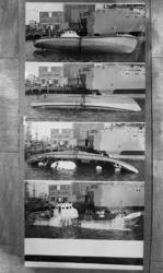 10032 Gemonteerde serie foto's van kantelproeven van de Javazee bij scheepswerf De Merwede.