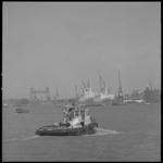 10295 Een havensleep- en blusboot van de gemeente Rotterdam vaart op de Nieuwe Maas richting Wilhelminakade en Rijnhaven.
