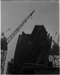1046 Opname van de bouw van de boeg van ss Rotterdam.