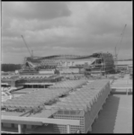11856 Bouw Ahoy'-complex Zuidplein met hallen en sportcomplex.