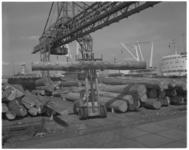 11975 Met een vorkheftruc worden boomstammen op de kade verplaatst.