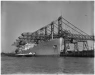 1310 Het Panamese stoomschip Leader met een lading van 25.600 ton steenkool wordt gelost bij Thomsen's Havenbedrijf in ...