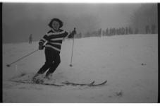 20034-53-34 Winterplaat: dame op ski's in een Rotterdams park.