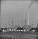 24951-1-5 Woningen in Hoogvliet-Noord tegen de achtergrond van de olieraffinaderij van Shell op de Vondelingenplaat.