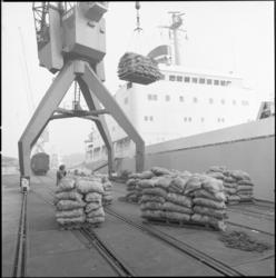 25709-1-4 Het transporteren van aardappelen als stukgoed op een havenkade.