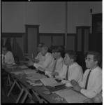 3488 Deelnemers aan dirigentencursus van de Stichting Nieuw Rotterdams Kamerorkest onder leiding van Piet Ketting, Jaap ...