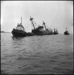 3923 Het slagzij makende Britse vrachtschip Cato wordt bij Hoek van Holland de Nieuwe Waterweg opgesleept.